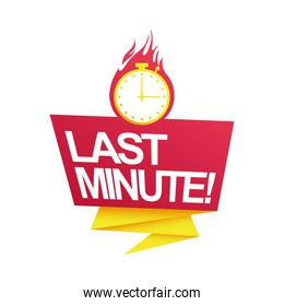 last minute sale countdown badge with chronometer on fire