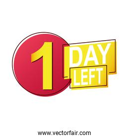one day left sale countdown badge