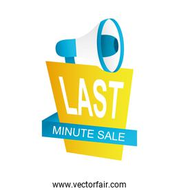 last minute sale countdown badge with megaphone