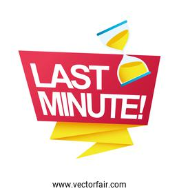 last minute sale countdown badge with sandglass in ribbon