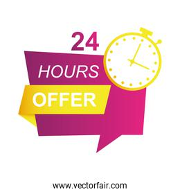 24 hours sale countdown badge with chronometer