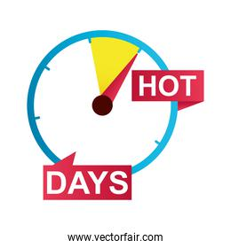 hot days sale countdown badge with ribbon