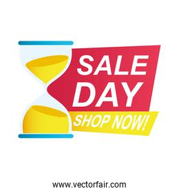 day sale countdown badge with sandglass
