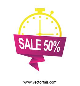 sale fifty percent countdown badge with chronometer