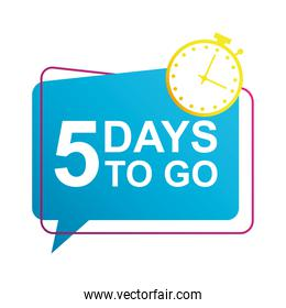 five days to go sale countdown badge with chronometer