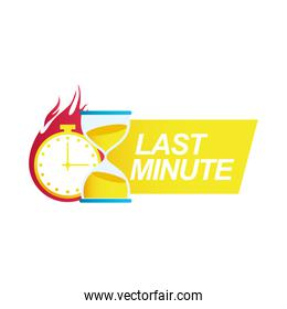 last minute sale countdown badge with sandglass and chronometer