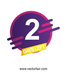 two days left sale countdown badge