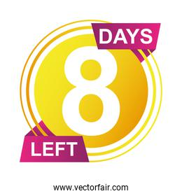 eight days sale countdown badge circular