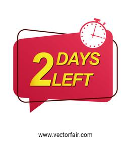 two days to go sale countdown badge with chronometer