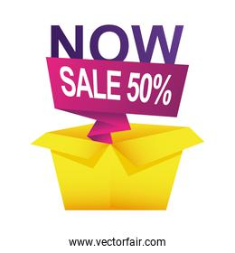 sale fifty percent countdown badge with box