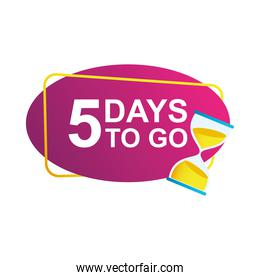 five days to go sale countdown badge with sandglass