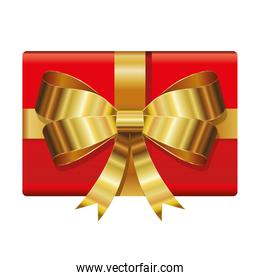 gift box of red color with a golden bow