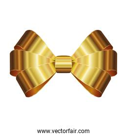 bow of golden color on a white background