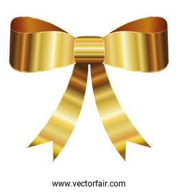 bow with a golden ribbons on white background