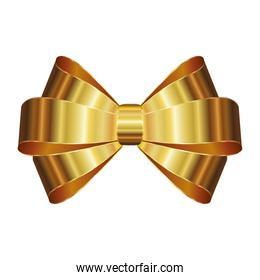 christmas bow with a golden ribbons on white background