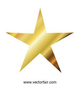 star of golden color on white background
