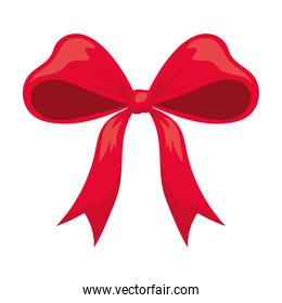 bow of red color with ribbons