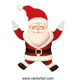 santa claus icon jumping on white background