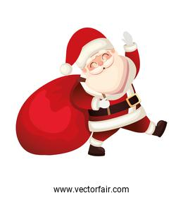 santa claus icon with a bag in white background