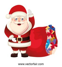 santa claus icon with a bag on white background