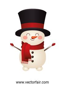 christmas snowman with top hat icon