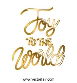 joy to the world in gold lettering