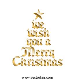 we wish you a merry christamas in gold lettering