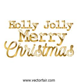 holly jolly merry christmas in gold lettering