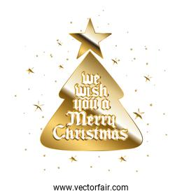 we wish you a merry christamas in gold lettering on tree