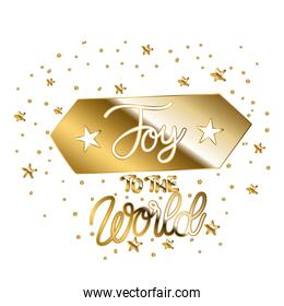 joy to the world in gold lettering on square with points