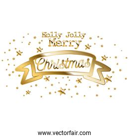 holly jolly merry christmas in gold lettering on ribbon