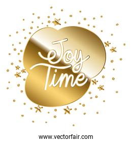 joy time in gold lettering with stars