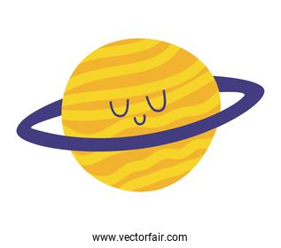 sticker of planet saturn smiling