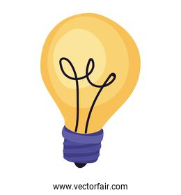 sticker of one bulb on, isolated icon