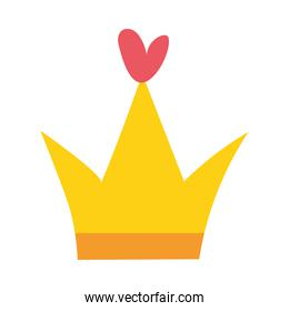 sticker of one crown of gold color on white background