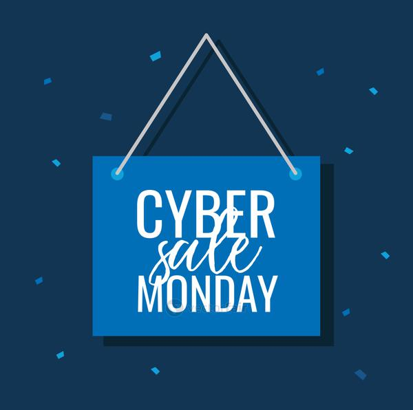 cyber monday lettering in label hanging