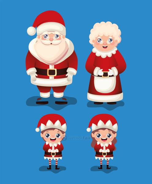 set of christmas icons in blue background