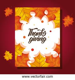 thanksgiving day card with autumn leaves vector design