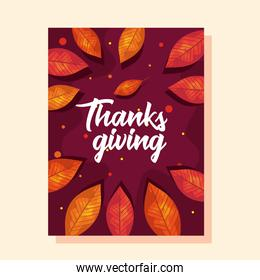 thanksgiving   card with autumn leaves vector design