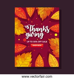 thanksgiving day with autumn leaves in ecommerce banner   design