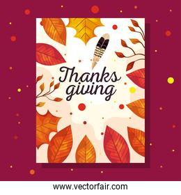 thanksgiving day card with autumn leaves vector