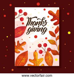 thanksgiving day card with autumn leaves   design