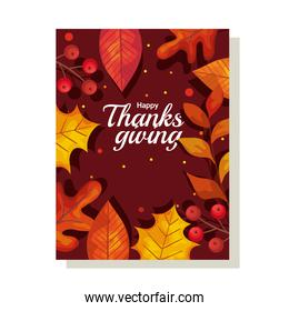thanksgiving day card with autumn leaves