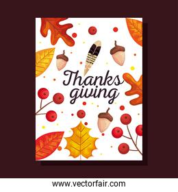 thanksgiving day card with autumn leaves and acorns