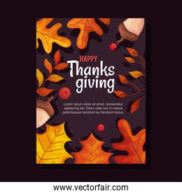 thanksgiving day card with autumn leaves and acorns vector design