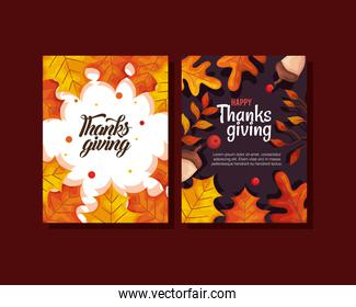 thanksgiving day cards with autumn leaves and acorns vector design