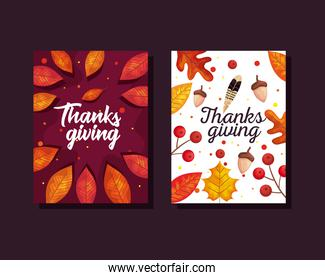 thanksgiving day cards with autumn leaves and acorns