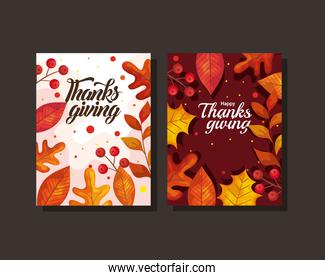 thanksgiving day cards with autumn leaves vector design