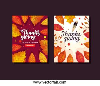 thanksgiving day with autumn leaves in ecommerce banners