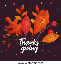 thanksgiving day autumn leaves vector design